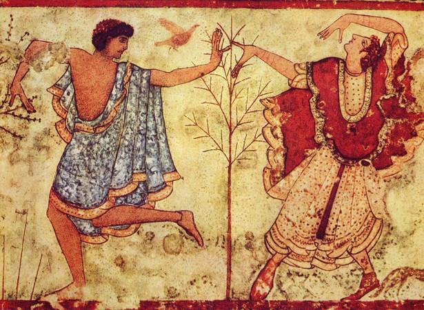 Etruscy tancerze na fresku z grobowca z okolic włoskiej Tarquinii