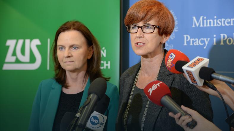 Minister rodziny, pracy i polityki społecznej Elżbieta Rafalska (P) i prezes Zakładu Ubezpieczeń Społecznych Gertruda Uścińska