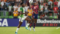 Asisat Oshoala played as Super Falcons lost 2-0 to USA in the Summer Series game (Twitter/U.S. Soccer WNT)