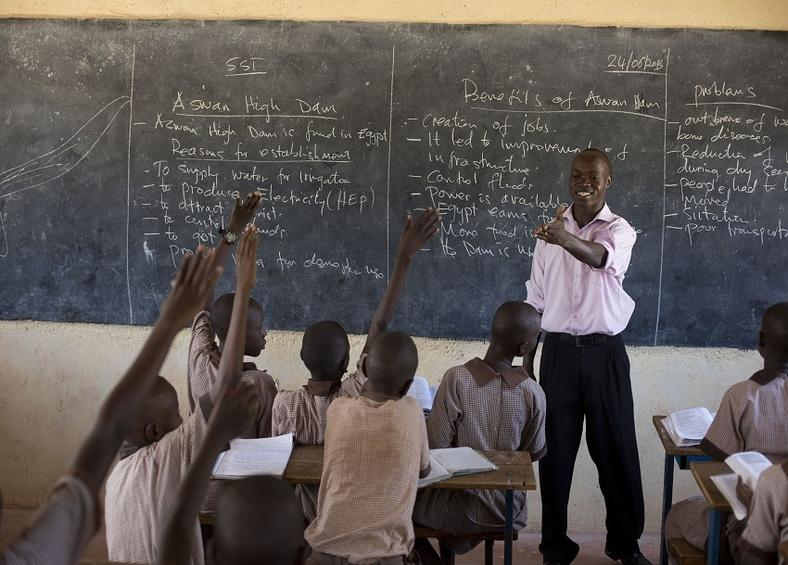 A teacher during a class session in Kenya