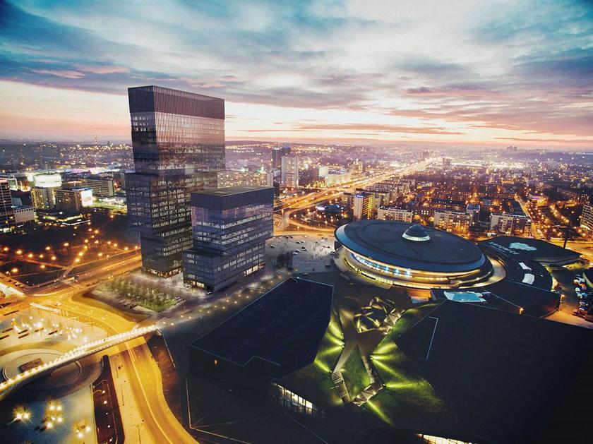Katowice. Nowe wieżowce biurowe przy Spodku