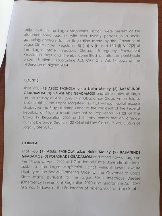The four count charges brought against Naira Marley [Lawanson]