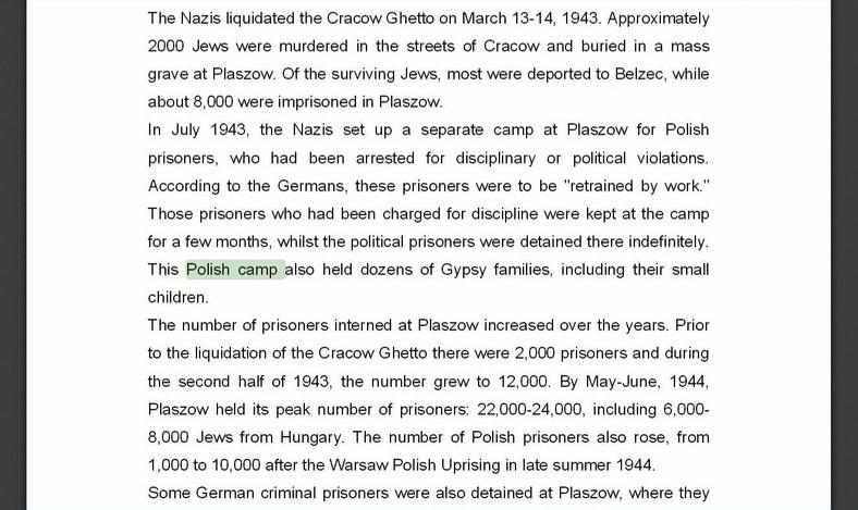 "Informacje ze strony Yad Vashem i ""polskie obozy koncentracyjne"" (źródło: yadvashem.org)"