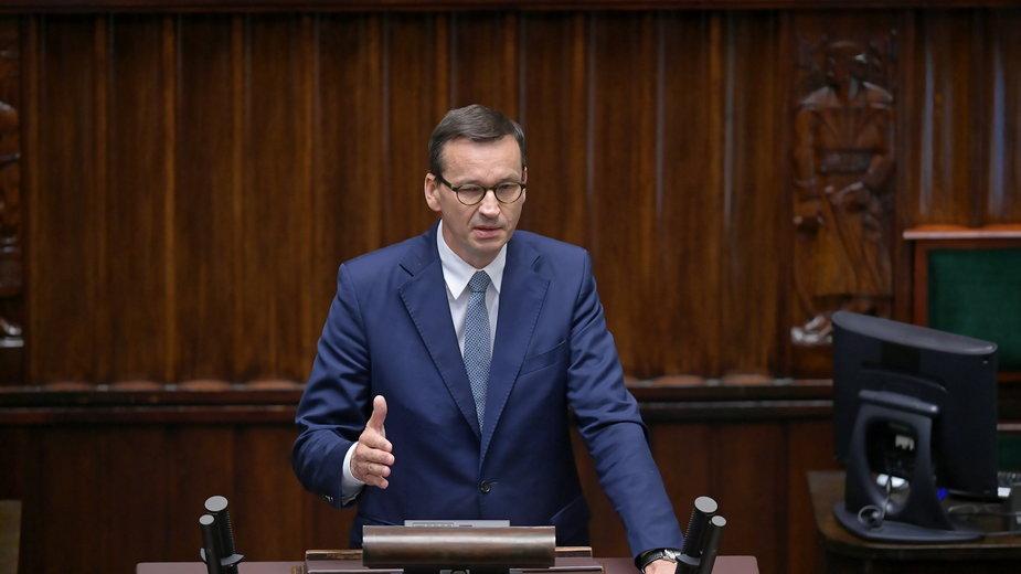 Mateusz Morawiecki podczas posiedzenia Sejmu