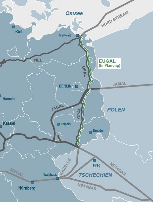 Planowany przebieg gazociągu Eugal. Źródło: materiały prasowe ze strony https://www.eugal.de/en/media-library/publications/