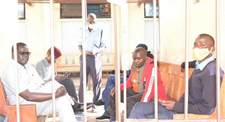 Senator Samson Cherargei in police custody with MPs Nelson Koech (Belgut), Didmus Barasa (Kimilili) and Wilson Kogo (Chesumei)