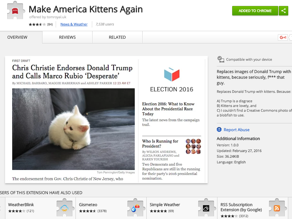 "Chrome Store: ""Make America Kittens Again"""