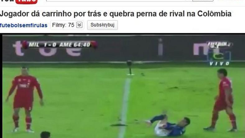 Noga piłkarza złamała się, jak zapałka