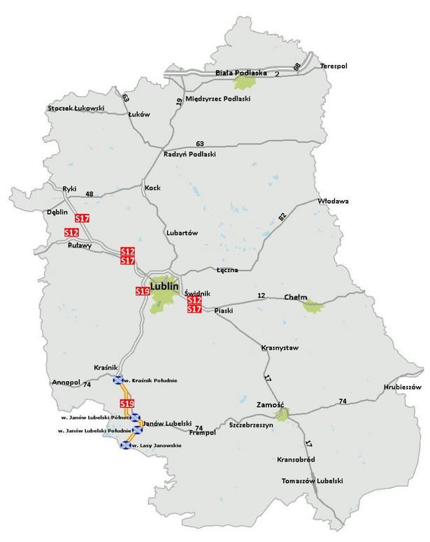 Droga ekspresowa S19 od końca obwodnicy Kraśnika do granicy z woj. podkarpackim, źródło: GDDKiA