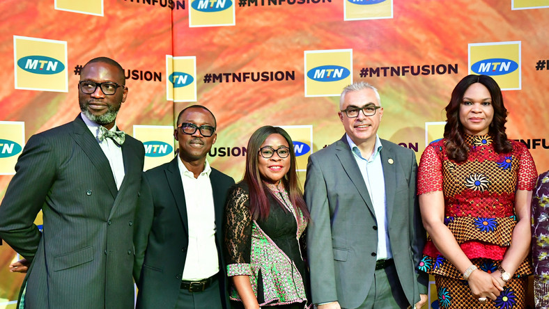 Corporate Relations Executive, MTN Nigeria, Tobechukwu Okigbo; Sales and Distribution Executive, MTN Nigeria, Adekunle Adebiyi; Human Resource Executive, MTN Nigeria, Esther Akinnukawe; COO MTN Nigeria, Mazen Mroue and Chief Enterprise Business Officer, MTN Nigeria, Lynda Saint-Nwafor at the maiden edition of MTN Partner Summit in Lagos state