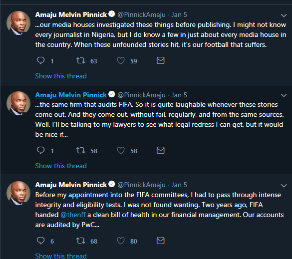 Amaju Pinnick goes on to deny the claims that he has misappropriated NFF funds (Twitter/Amaju Pinnick)