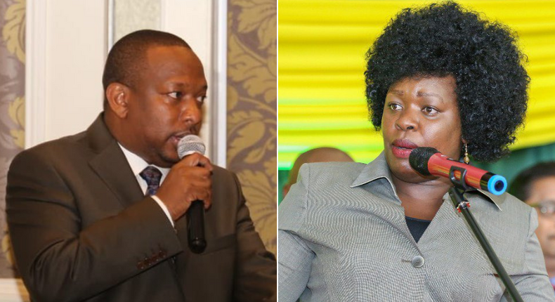 Nairobi Governor Mike Sonko and Education CEC Janet Muthoni Ouko who resigned from the county government (Pulselive.co.ke)