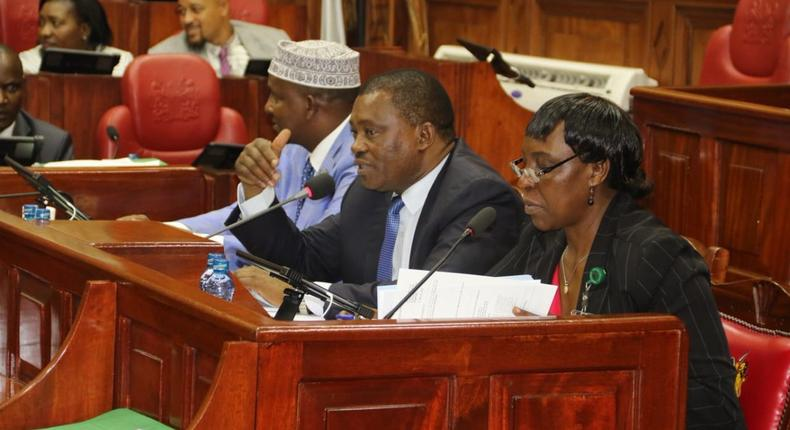 National Assembly Speaker Justin Muturi chairs the Committee on Appointments during the vetting of Education CS George Magoha (Twitter)