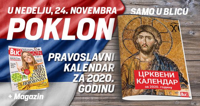 """Pravoslavni crkveni kalendar za 2020. godinu danas na poklon u """"Blicu"""""""