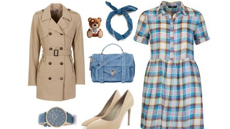 Sukienka w kratkę, o modnym koszulowym fasonie w połączeniu z beżem i pastelowym niebieskim prezentuje się bardzo elegancko i modnie. To zdecydowanie propozycja na co dzień, do pracy lub na spotkanie.