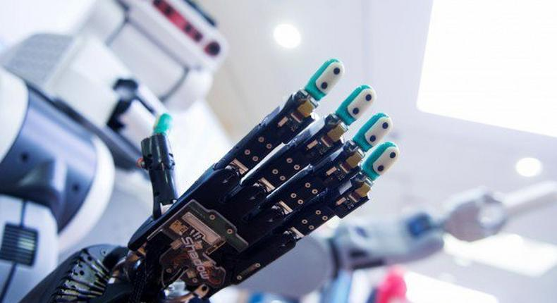 A robot is pictured at the scientists congress IROS 2015 in Hamburg, Germany October 2, 2015.
