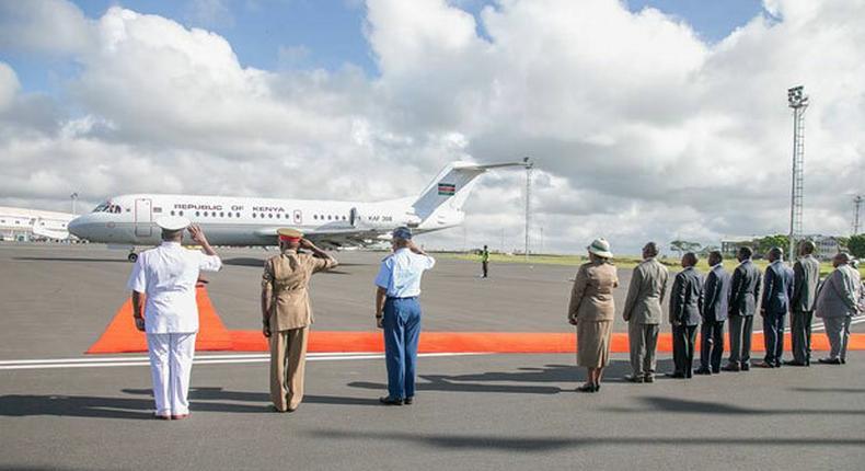 The plane carrying President Kenyatta and his entourage. (Capital FM)