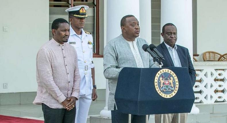 President Uhuru Kenyatta with CSs Henry Rotich and Mwangi Kiunjuri