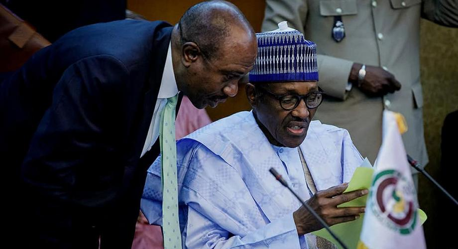 President Muhammadu Buhari and Godwin Emefiele (Left) at the 4th Meeting of the Presidential Task Force on ECOWAS single currency in Niamey Niger Republic in 2019 (Presidency)