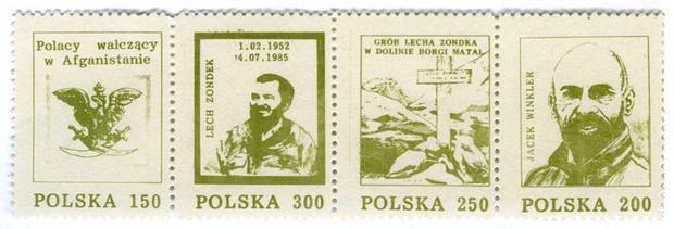 """""""Podziemne"""" znaczki pocztowe z Lechem Zondkiem i Jackiem Winklerem, 1985 r."""
