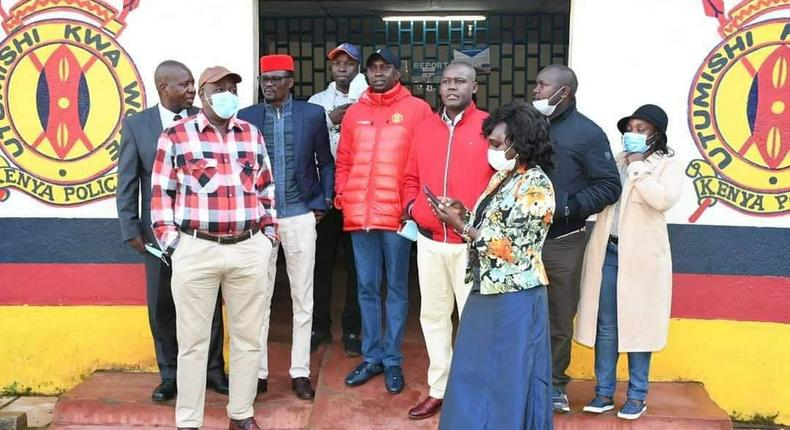 Kapsaret MP Oscar Sudi with fellow politicians when he presented himself to the Kapsaret Police Station