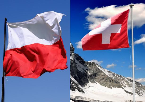 Flagi Polski i Szwajcarii, matey Shutterstock