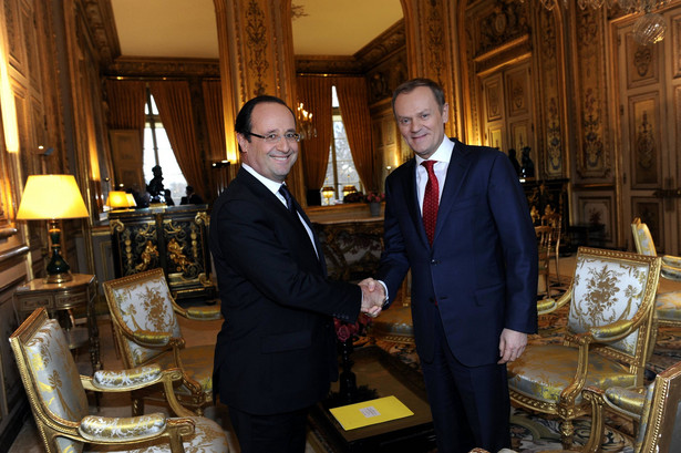 Spotkanie Donalda Tuska z Francois Hollandem w Paryżu