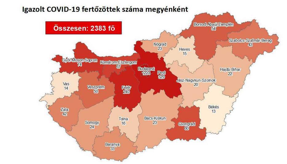 Budapesten van a legtöbb fertőzött / Fotó: koronavirus.gov.hu