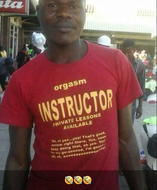 Hilarious writings on this man's T-shirt makes him a viral sensation