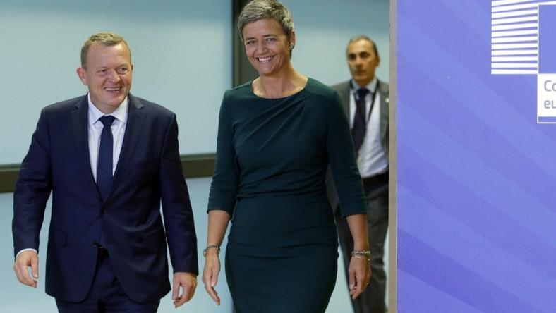 Europejska komisarz ds. konkurencji podejmowała duńskiego premiera w wyjątkowo nietrafionej kreacji...