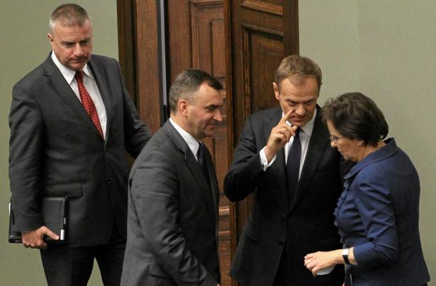 Sejm. Pawel Gras, Donald Tusk, Wlodzimierz Karpinski i Ewa Kopacz