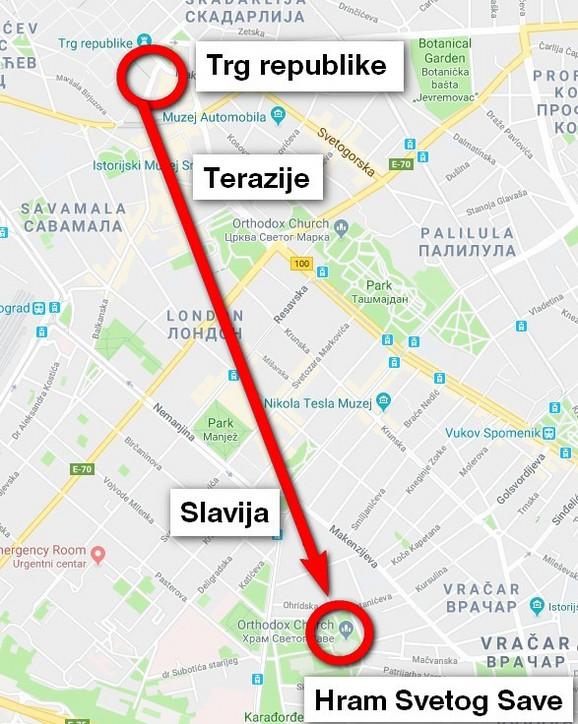 Trasa kojom će se građani kretati ka Hramu
