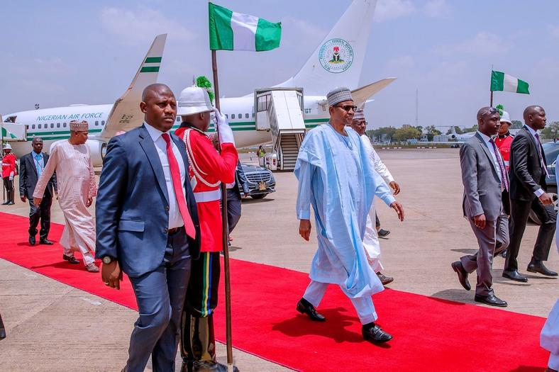 President Muhammadu Buhari arriving Abuja from Katsina after participating in the Governorship and state Assembly elections on Saturday March 9, 2018