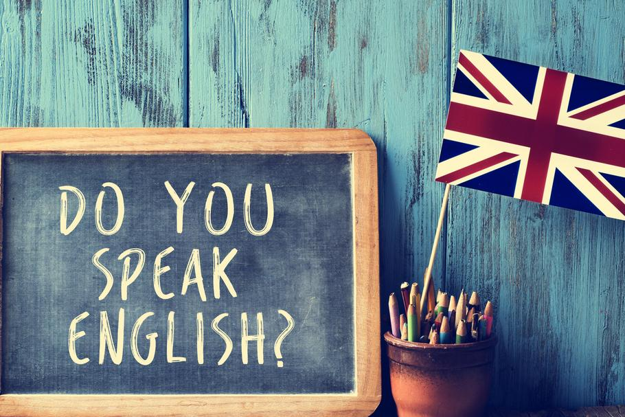 text do you speak english? in a chalkboard, filtered