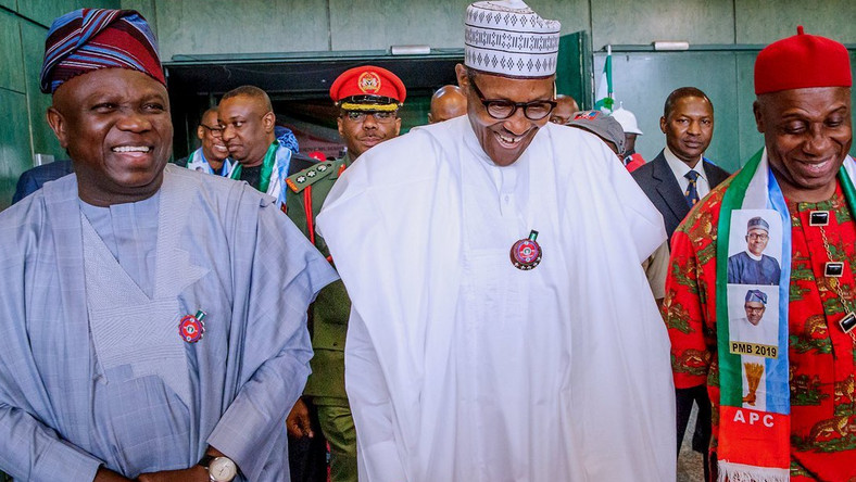 Buhari, Ambode an Amaechi attend an event (Presidency)
