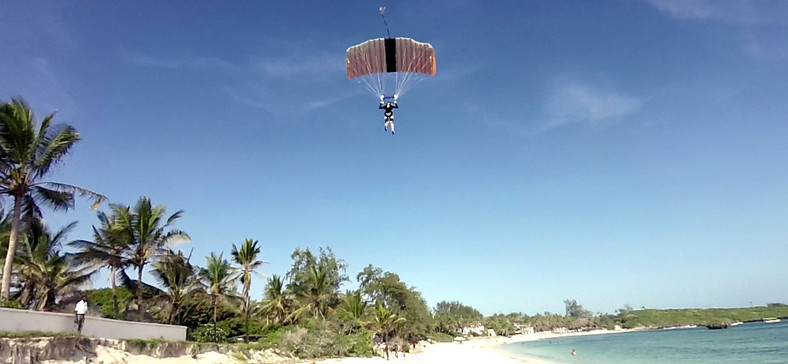 Sky diver at a beach located on the Kenyan coast