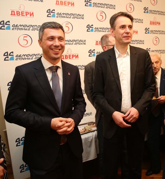 Boško Obradović,  predsednik Dveri i Saša Radulović, lider DJB