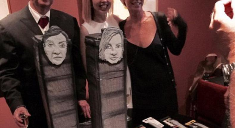 Devo founding member Jerry Casale sparked controversy this week when pictures surfaced of his Twin Towers-themed wedding cake. Pictured on the left with his bride Krista Napp (in white, center)