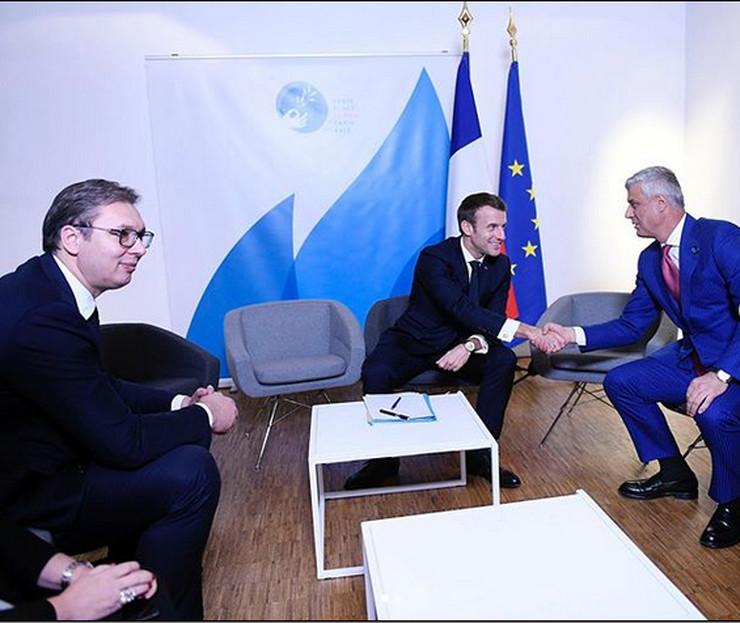 Hašim Tači, Aleksandar Vučić, Emanuel Makron, Pariz