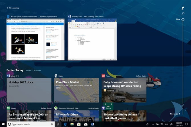 Timeline z Windows 10 Spring Creators Update (fot. Microsoft)