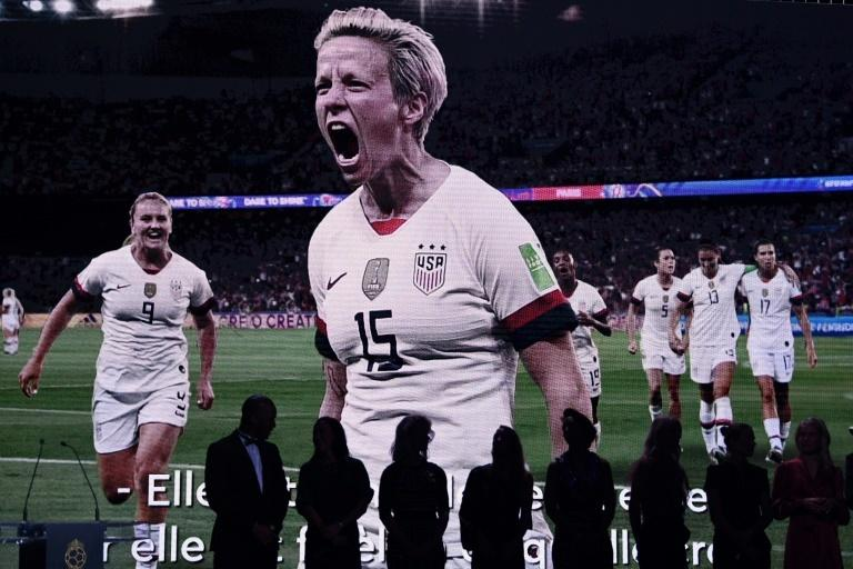 Megan Rapinoe was not in Paris to pick up her Ballon d'Or prize on Monday, but footage of her starring at the World Cup was shown on screen