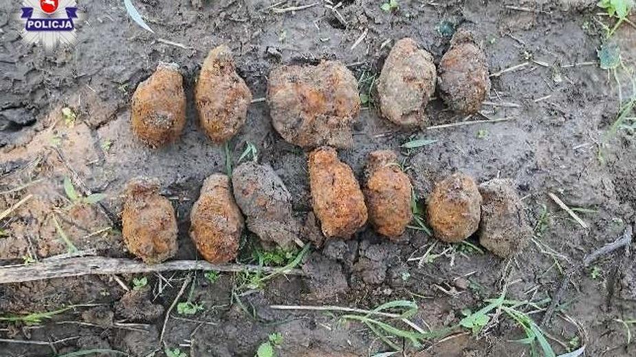 Granaty znalezione podczas spaceru. Fot. Lubelska Policja