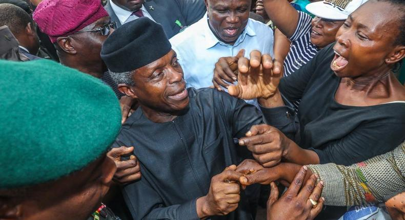 Osinbajo is mobbed as he meets beneficiaries of Trader Moni scheme in Lagos, November 12, 2018