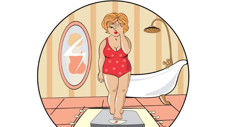 Otyła kobieta na wadze. Dieta. Odchudzanie