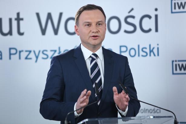 Andrzej Duda podczas spotkania z wyborcami, organizowanego przez Instytut Wolności