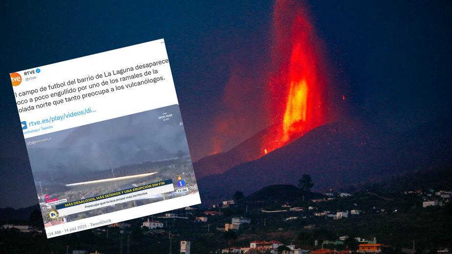 Na wyspie La Palma lawa zalała stadion lokalnego klubu (twitter.com/@RTVE)