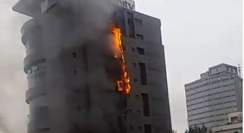 Unity Bank head office in Lagos on fire on September 23, 2019 [The Nation]