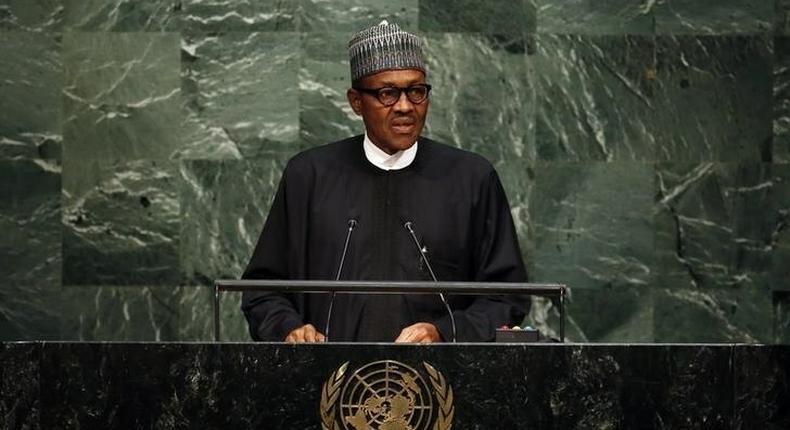 Nigeria's President Muhammadu Buhari addresses a plenary meeting of the United Nations Sustainable Development Summit. REUTERS/Andrew Kelly