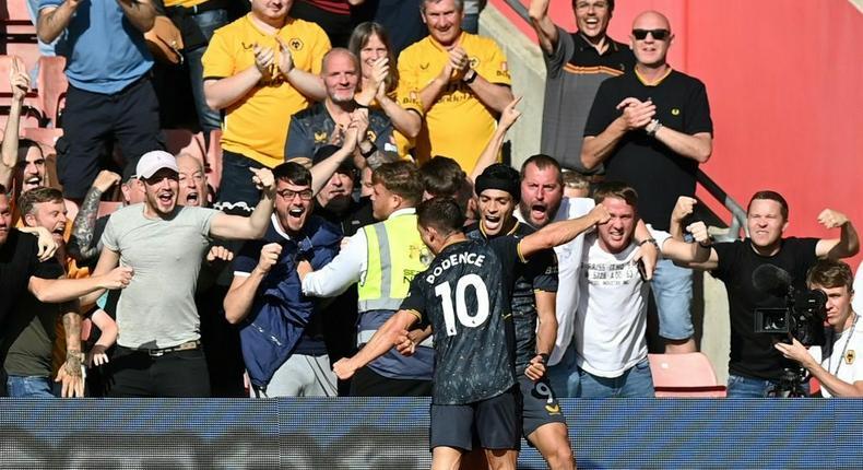 Wolves forward Raul Jimenez celebrates scoring against Southampton Creator: Glyn KIRK