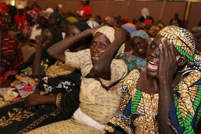 Parents of abducted Chibok girls weeping during a meeting with President Muhammadu Buhari at the Presidential Villa in 2016 [Reuters]